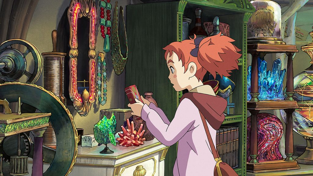 Promo image for Mary and the Witch's Flower showing a girl looking at a book in a shop