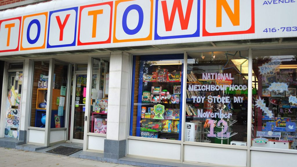 large storefront with windows full of toys