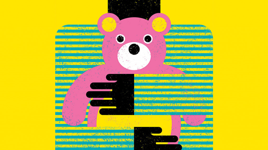 Illustration of a kid hugging a teddy bear