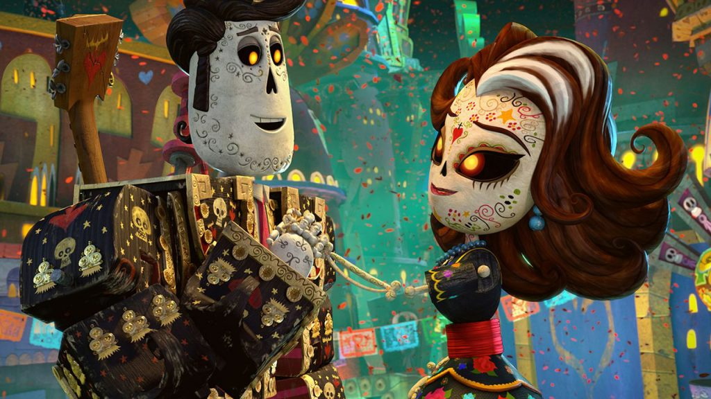 Promo image for Book of Life showing two sugar skull people holding hands