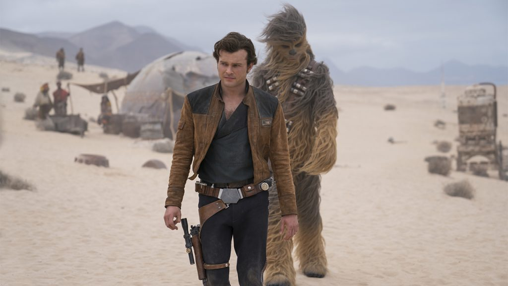 promo image for Solo: A Star Wars Story showign a man and a wookie walking in a desert