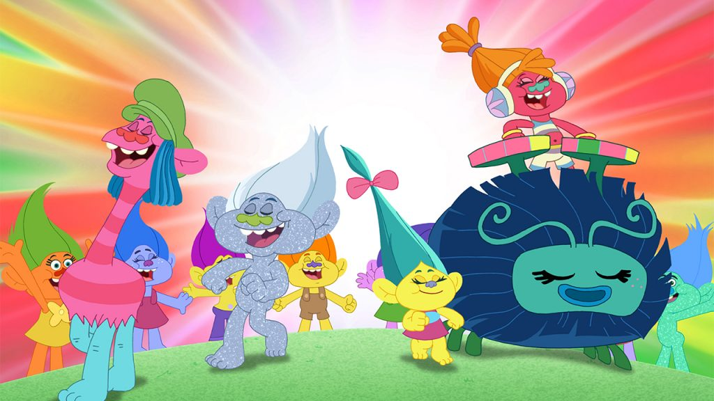Promo image for Trolls the Beat Goes On showing the trolls marching and singing