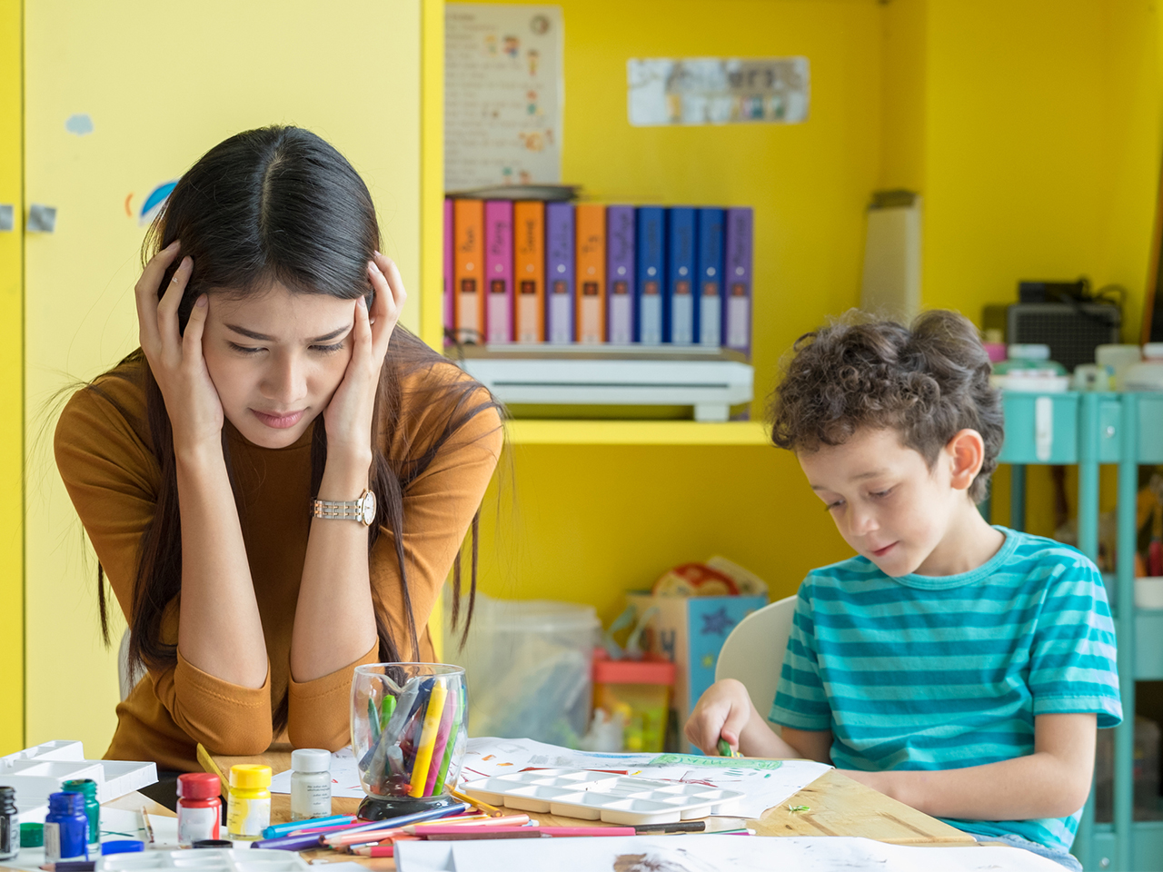 frustrated teacher and kid