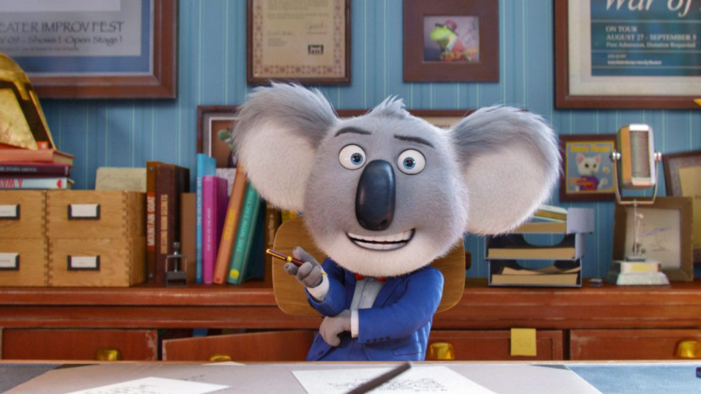 Promo image for Sing showing a koala in a business suit sitting at a desk