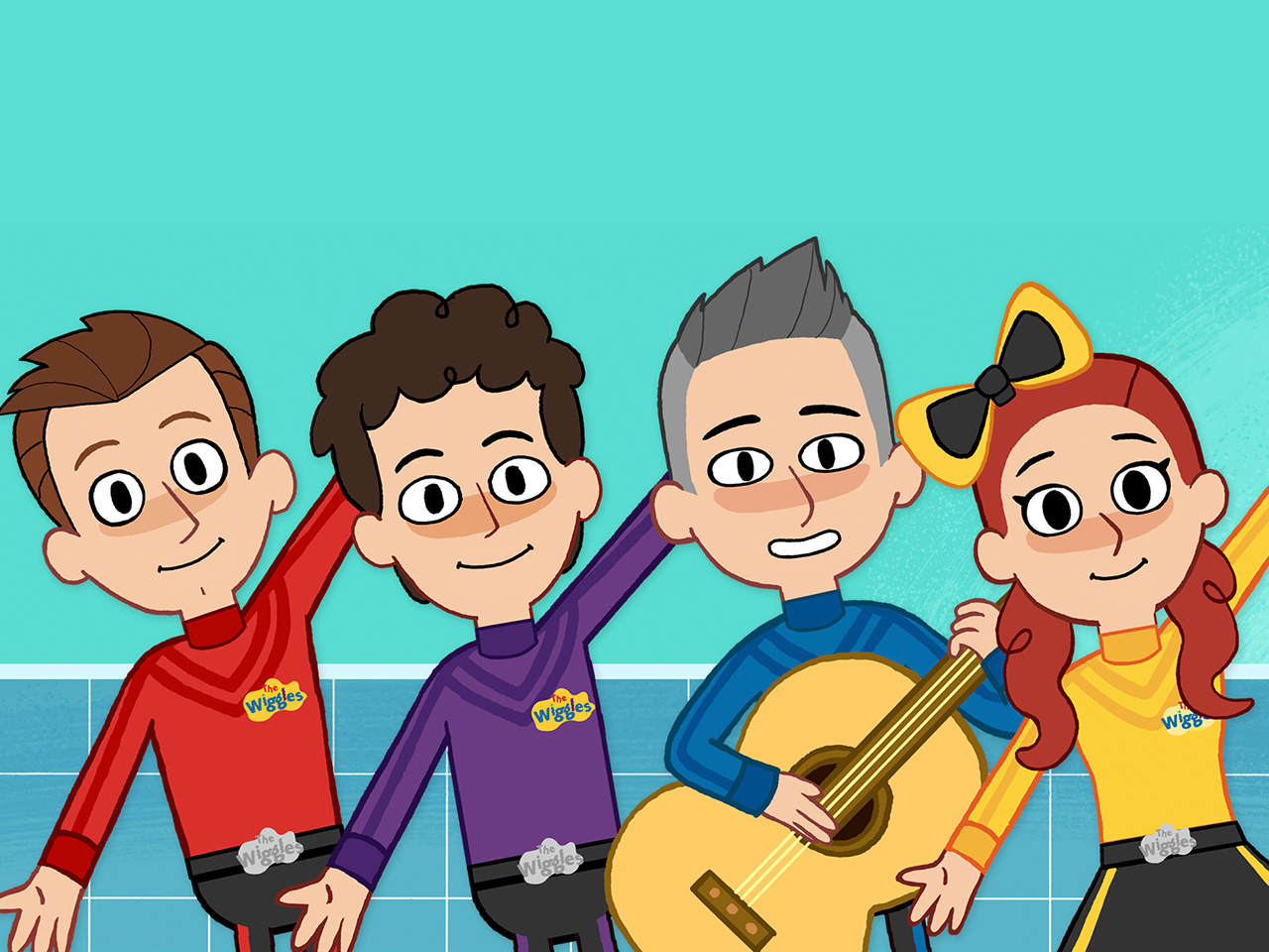 illustration of the Wiggles dancing in the bathroom