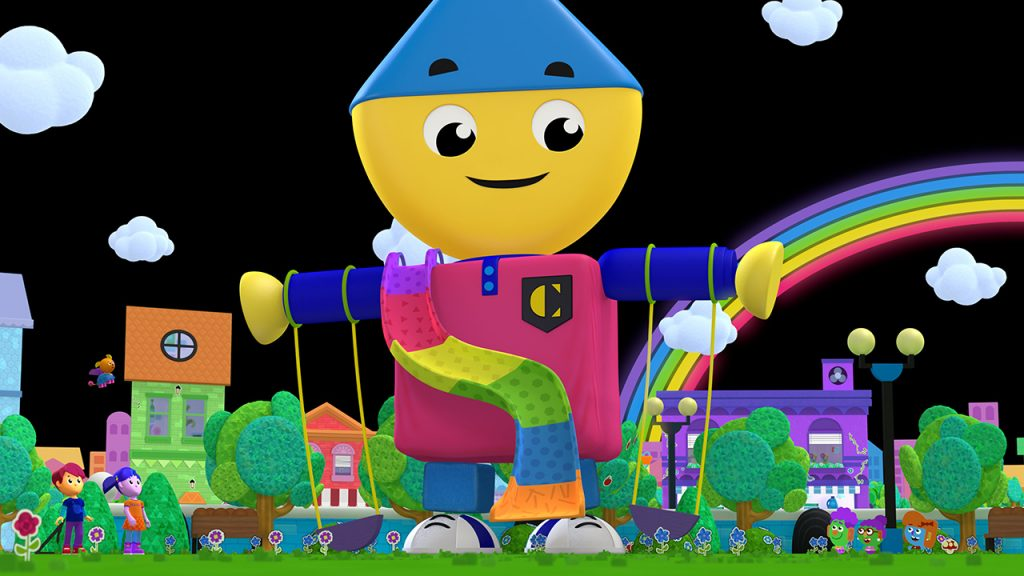 Promo image for Charlie's Colorforms City showing a large animated block person using his arms to create swings