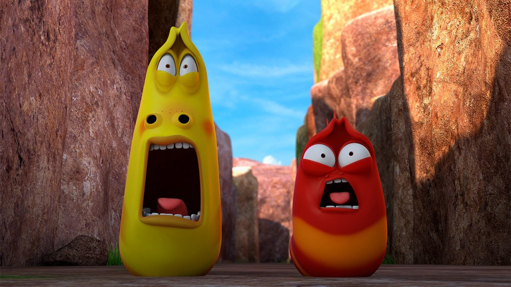 Promo image for Larva Island showing two animated larvae screaming in a canyon