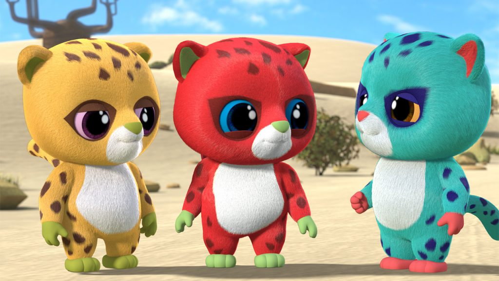 Promo image for Yoohoo to the Rescue showing three colourful cheetahs talking to each other