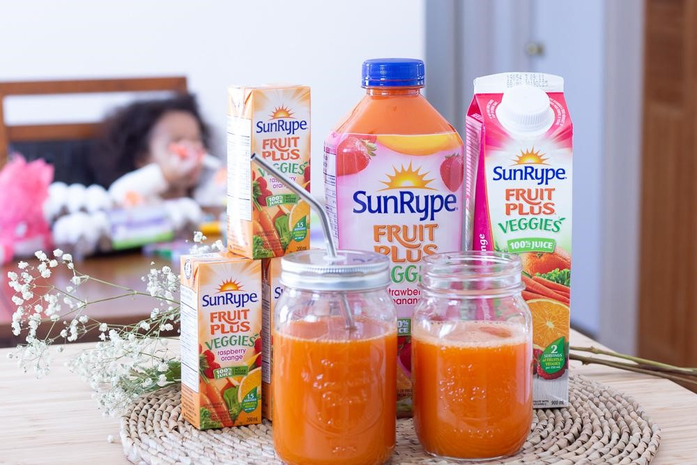 SunRype Fruit Plus Veggies juices in box, carton, and plastic jars with metal straws