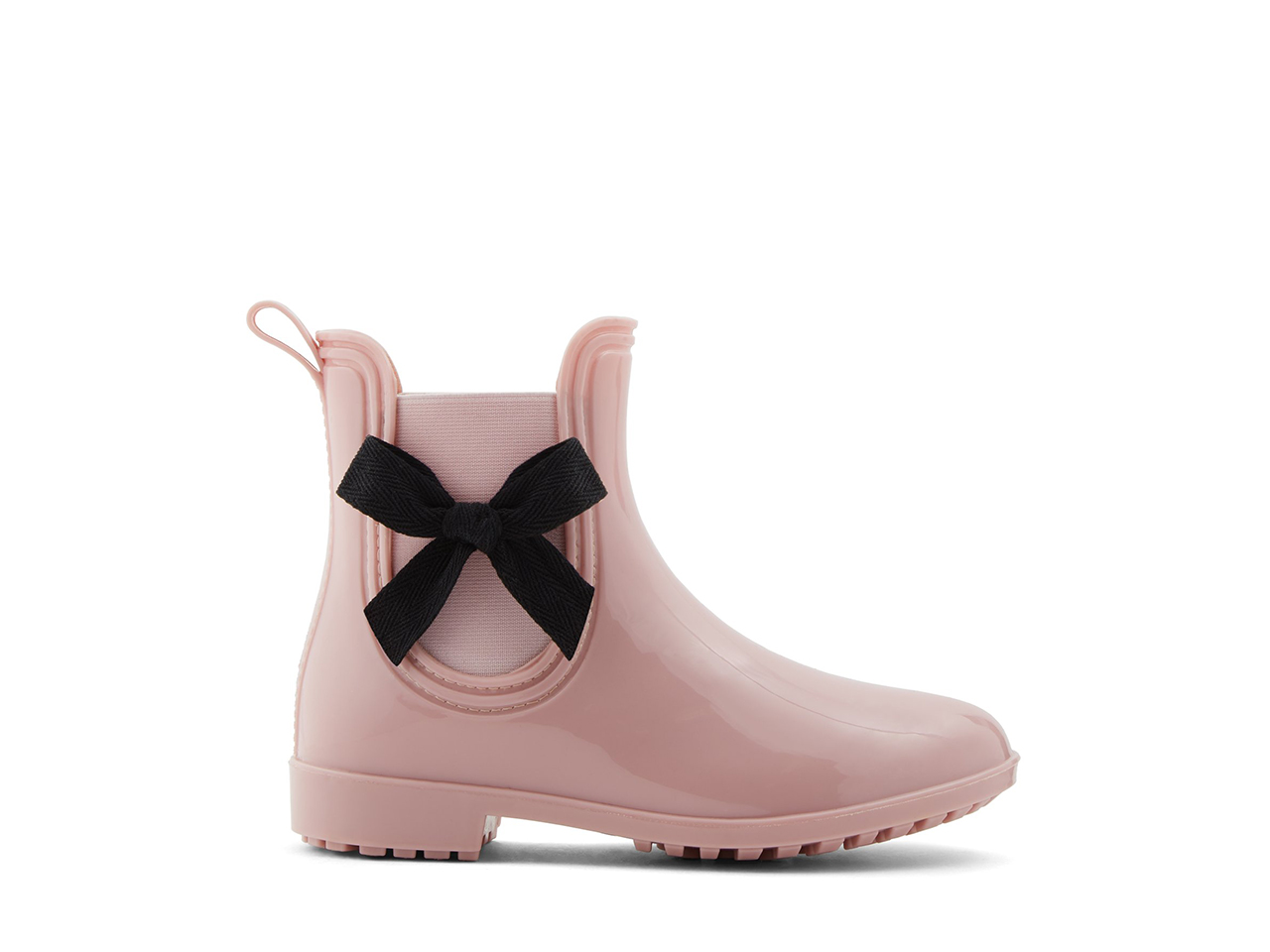 pink boots with black bow