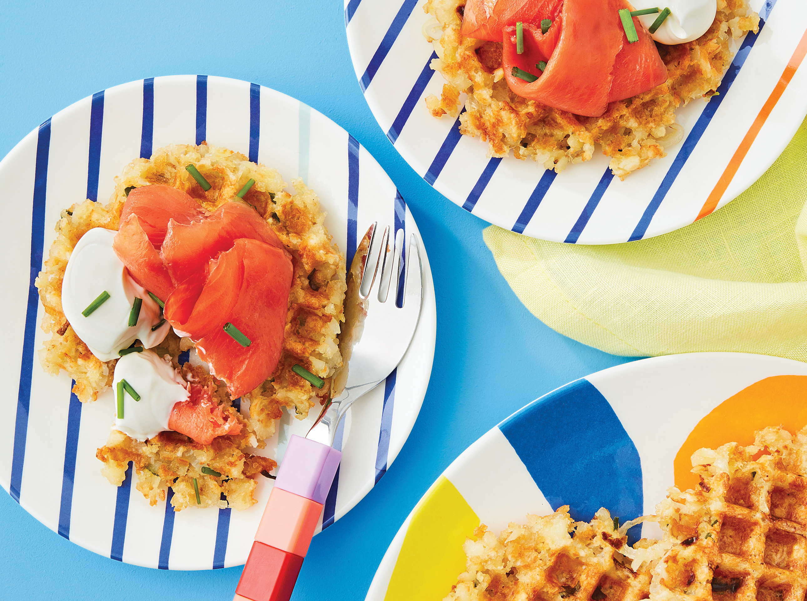 Hash-brown waffles with smoked salmon and sour cream