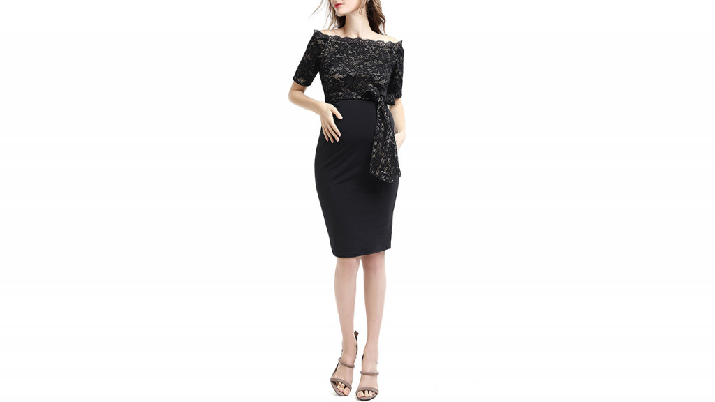 woman in black formal maternity dress