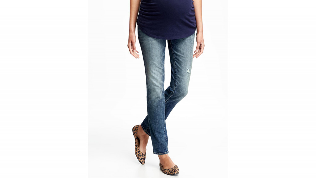 Pregnant women wearing maternity jeans from Old Navy