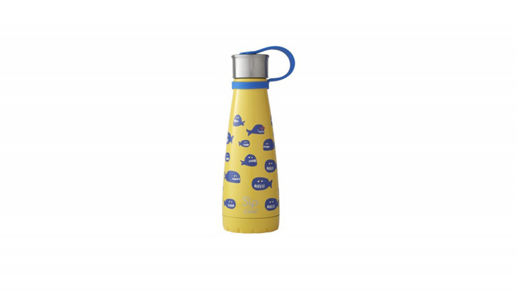 yellow water bottle with whales