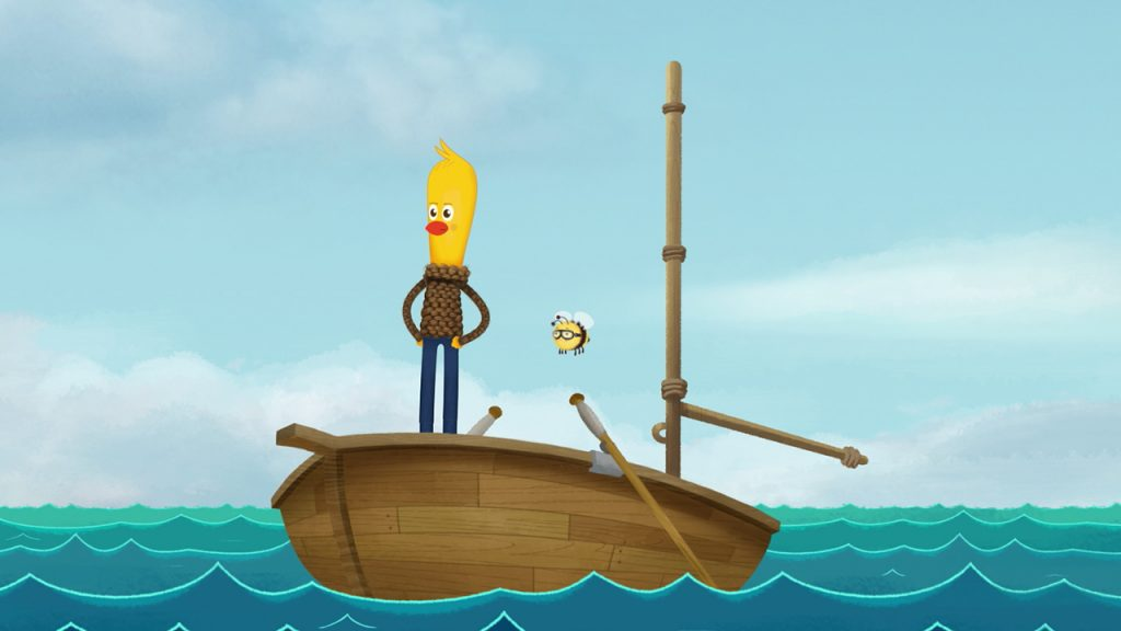 humanoid animated chicken standing on a boat
