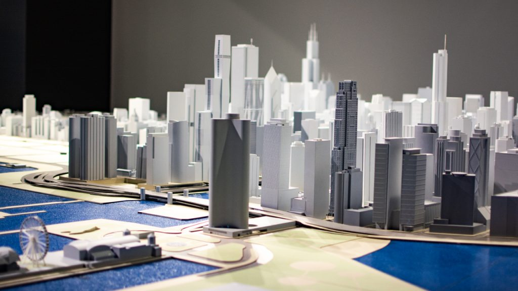 Photo of the interactive scale model of Chicago at the Chicago Architecture Center