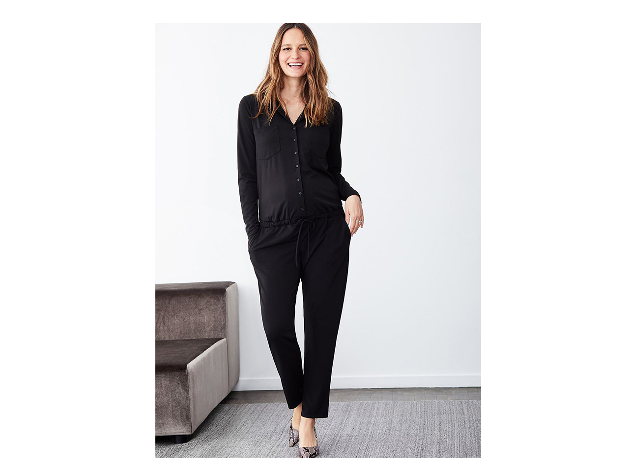 black long sleeve button up jumpsuit