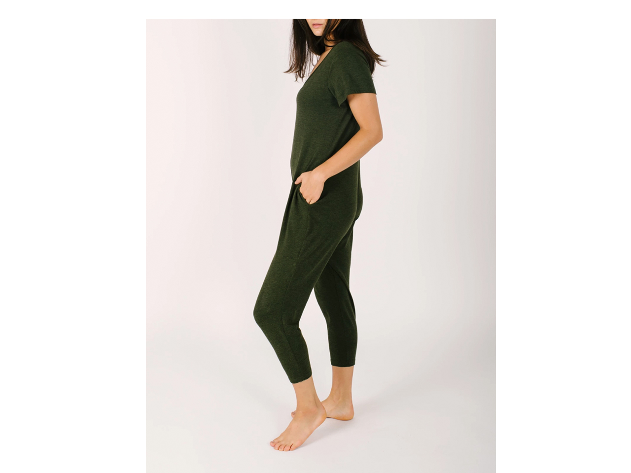olive green short sleeve jumpsuit