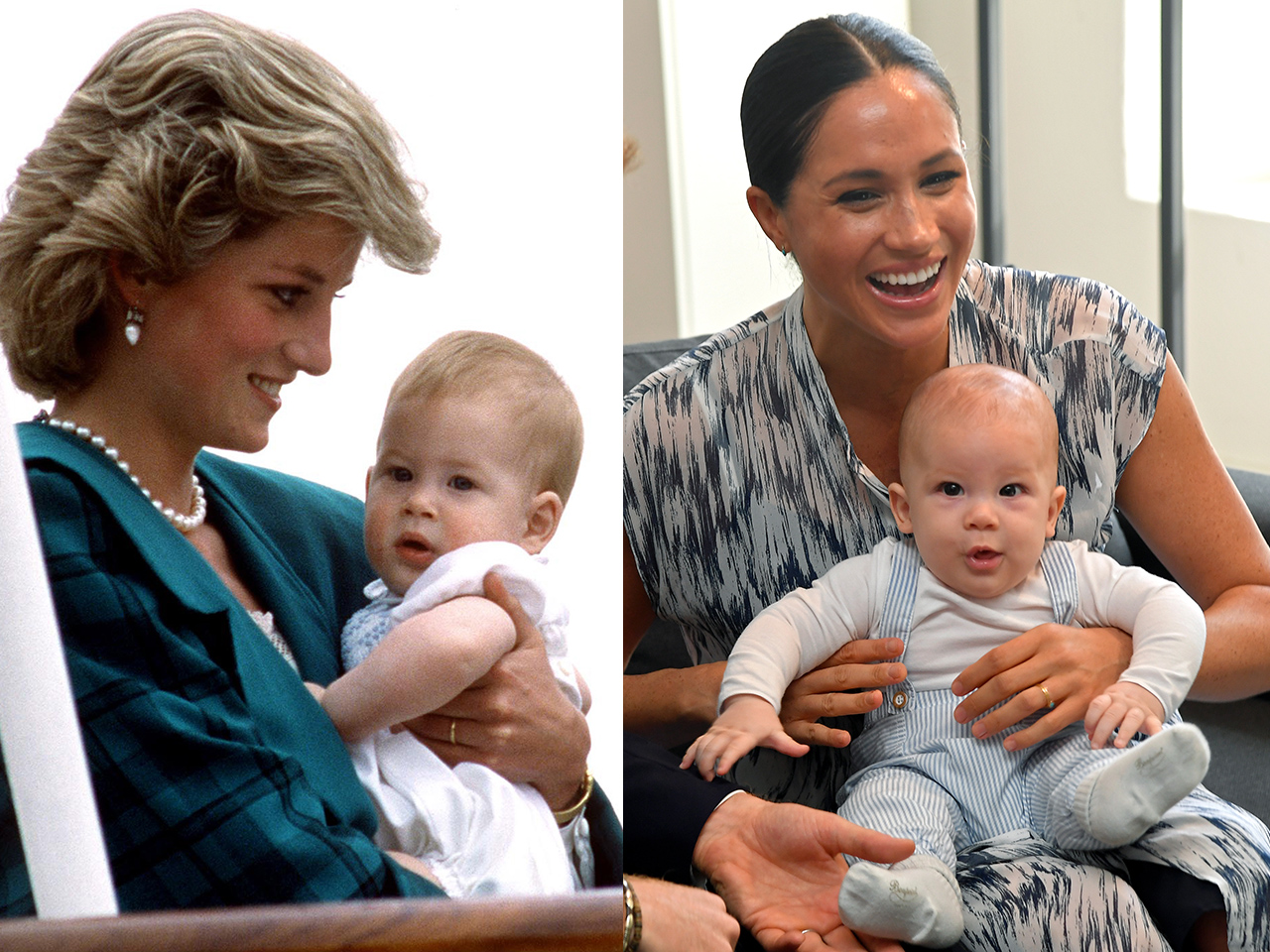 baby prince harry in princess diana's arms beside baby archie in meghan markle's arms