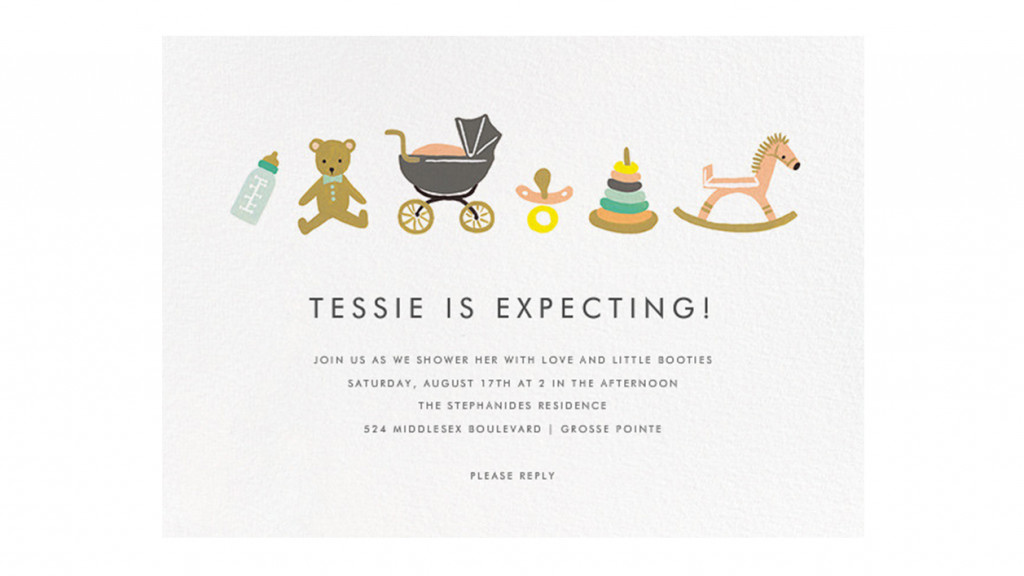 "Baby shower invitation picturing ""baby basics"": a bottle, a teddy bear, a stroller, a pacifier, stacking rings, a rocking horse"