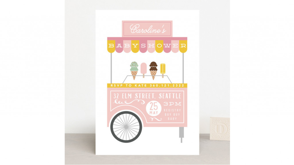 baby shower invitation picturing an ice cream cart in pink pastel colours
