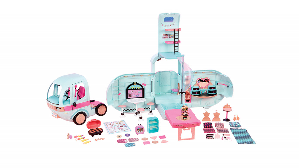 pink and blue glamper toy set