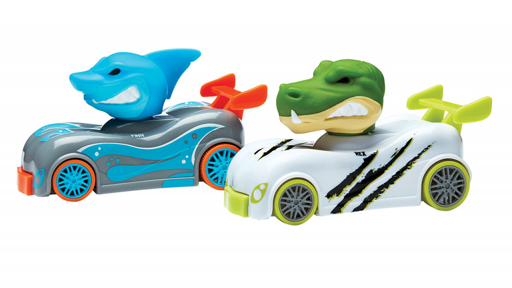 Two knuckle heads race cars, one shark and one alligator