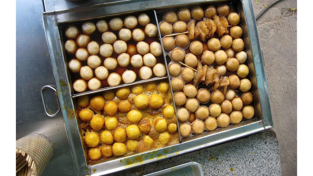 Curried fish balls in a tray