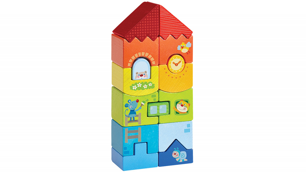 Colourful wooden animal high rise toy