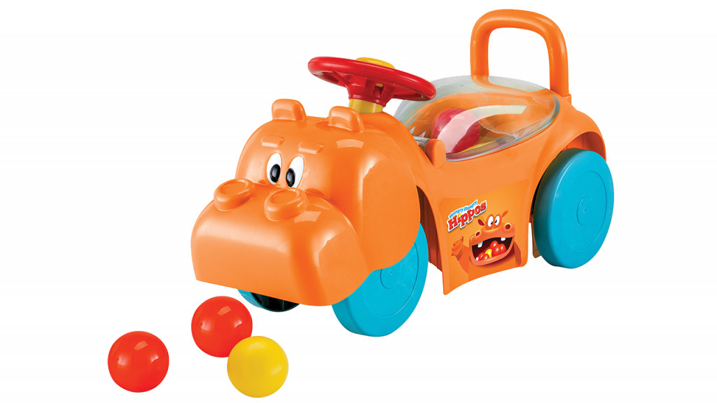 Hungry Hippos foot to floor push riding toy in orange