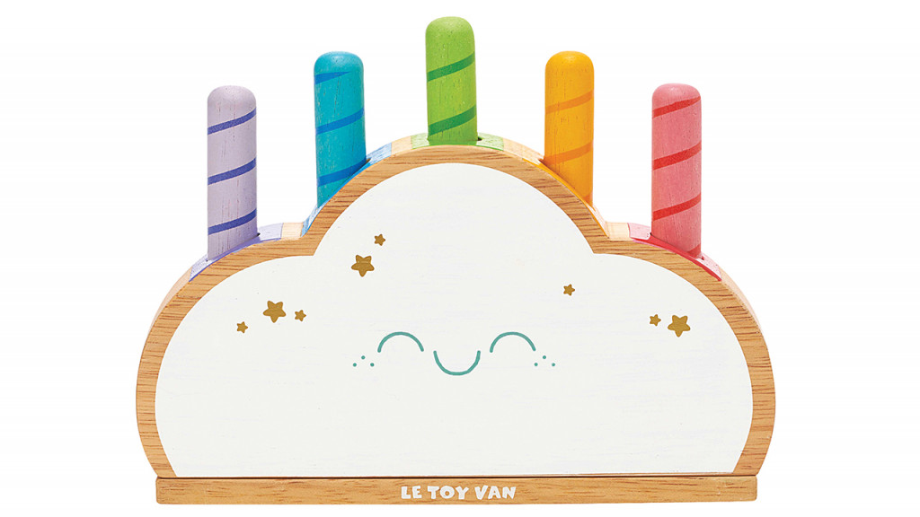 Wooden Rainbow Cloud Pop baby toy