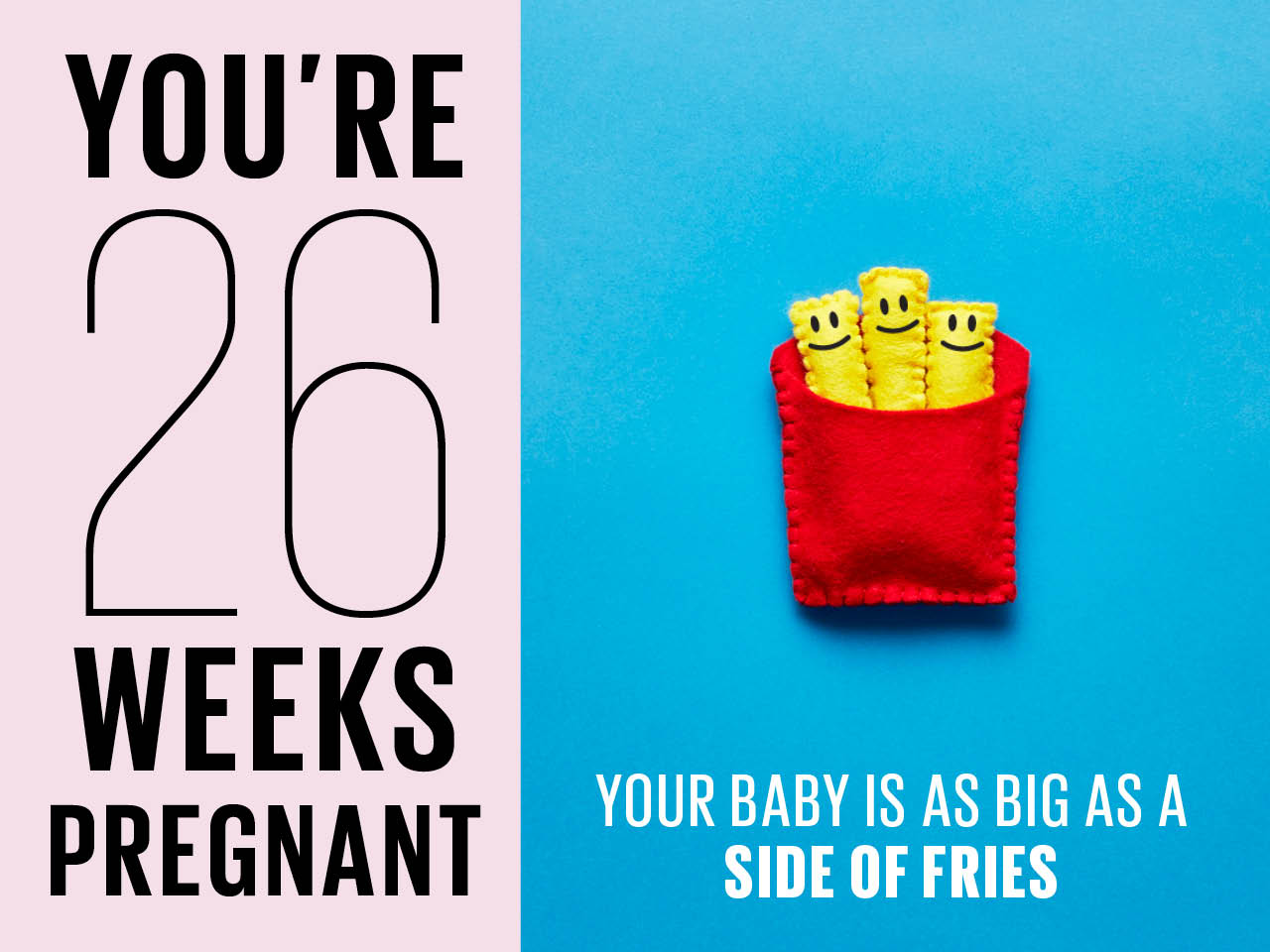 Felt box of french fries used to show how big baby is at 25 weeks pregnant