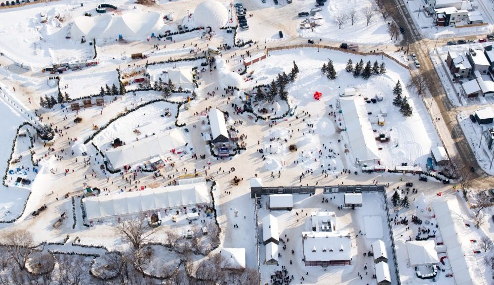Aerial view of the snowy festival