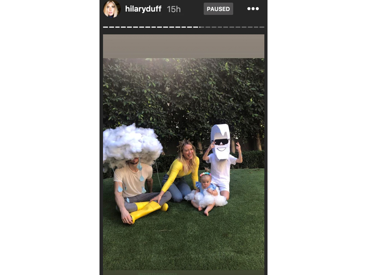 Hilary and family dressed up as weather