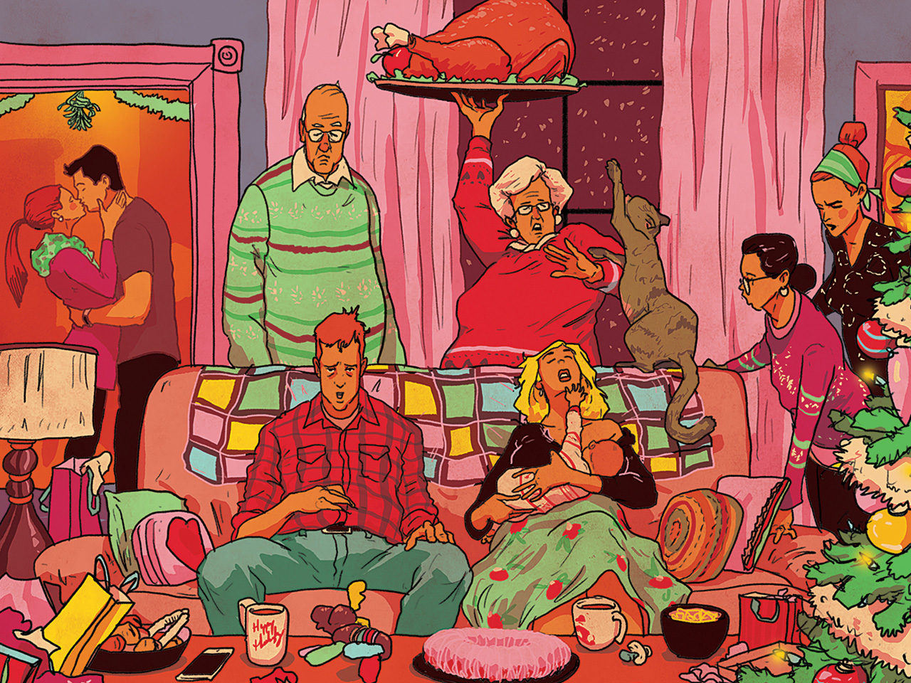 Illustration of an exhausted couple sitting on the couch at a family Christmas party