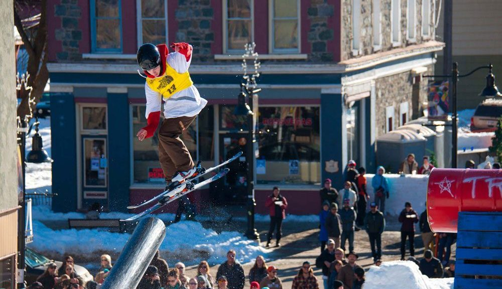 Skier soars through the air
