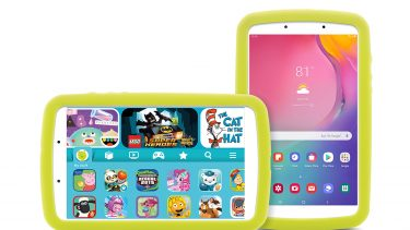 Two images of the Samsung Galaxy Tab A Kids Edition tablet, horizontally on the left and vertically on the right