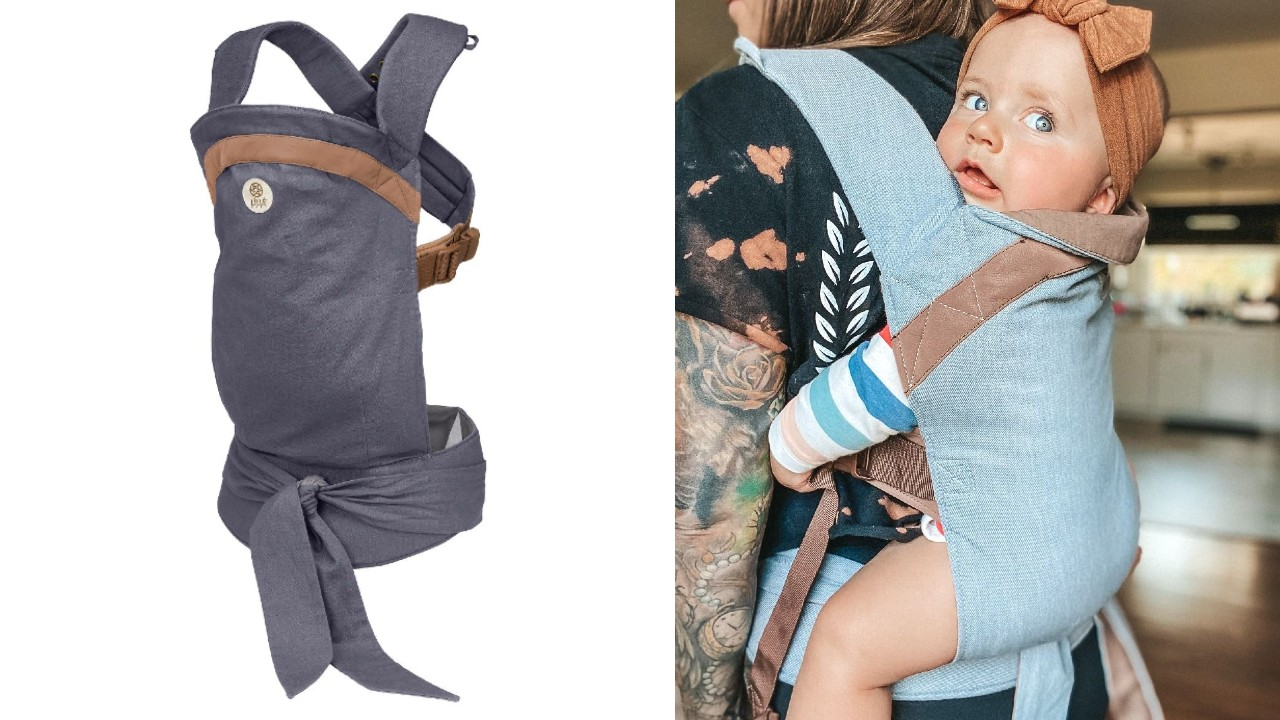 baby in lightweight carrier
