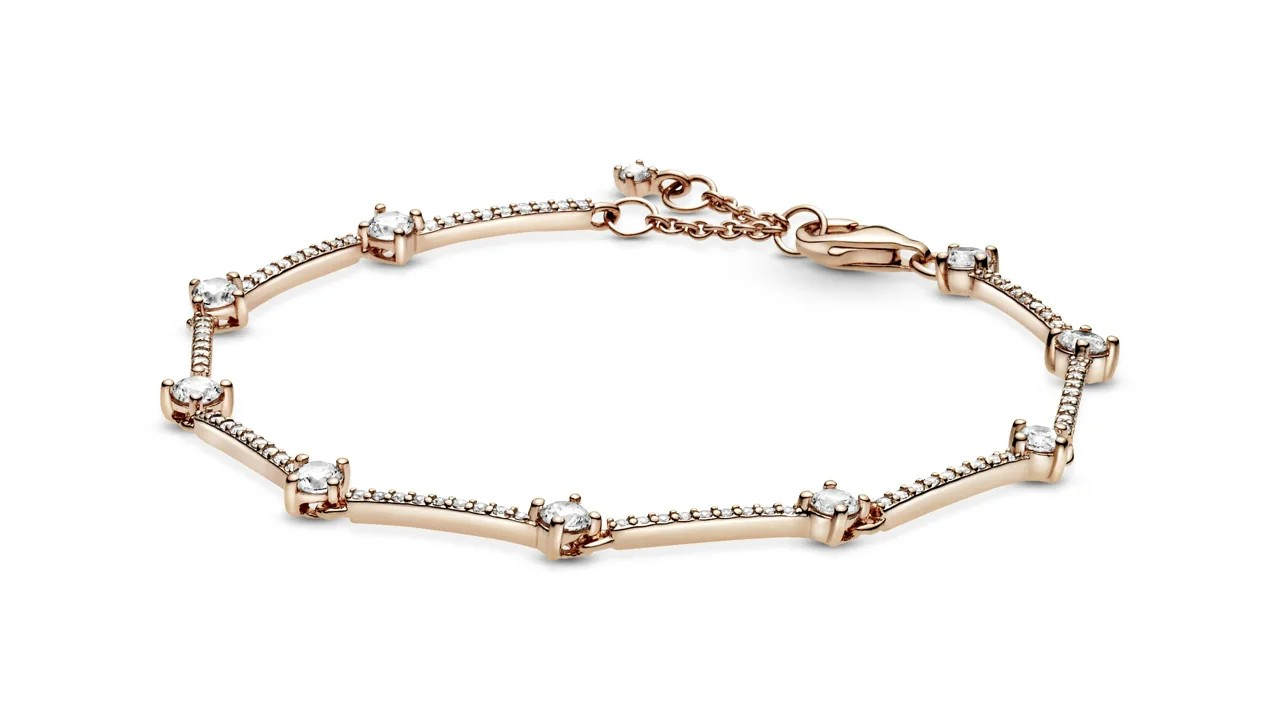 rose gold bracelet with pave stones