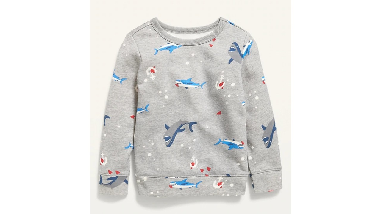 sweat shirt with sharks eating hearts print