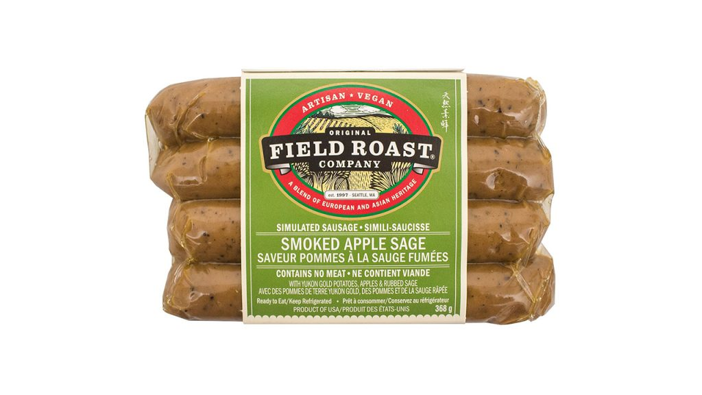 plant-based sausage in package
