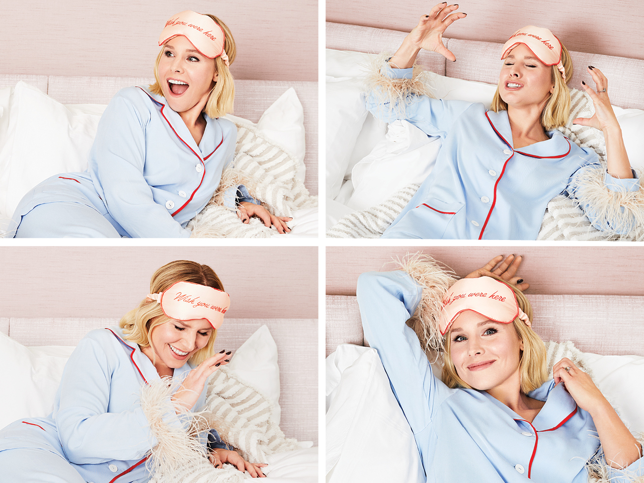 Grid of photos showing Kristen Bell lounging on a bed with a sleep mask on here head that reads Wish you were here