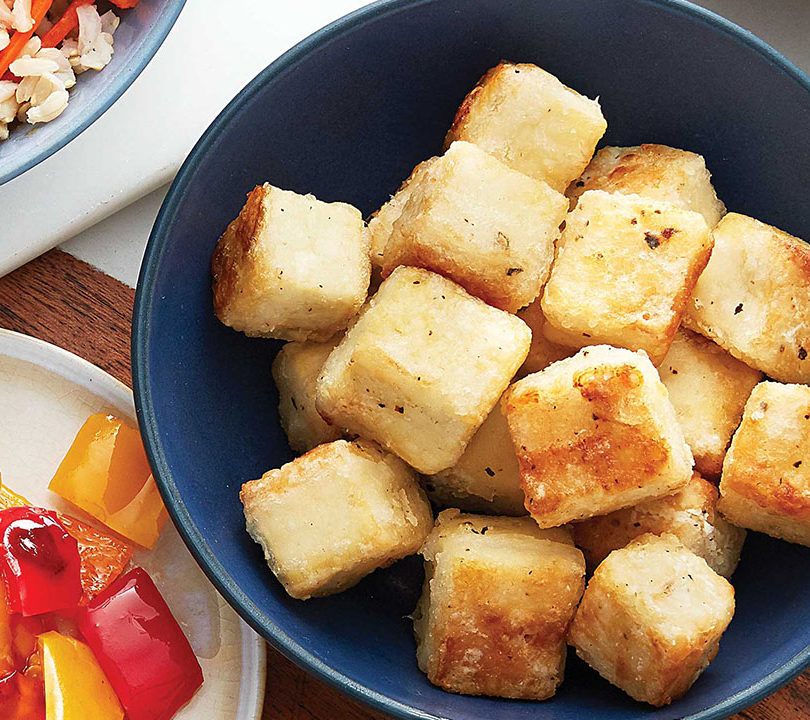 Crispy salt and pepper tofu cubes