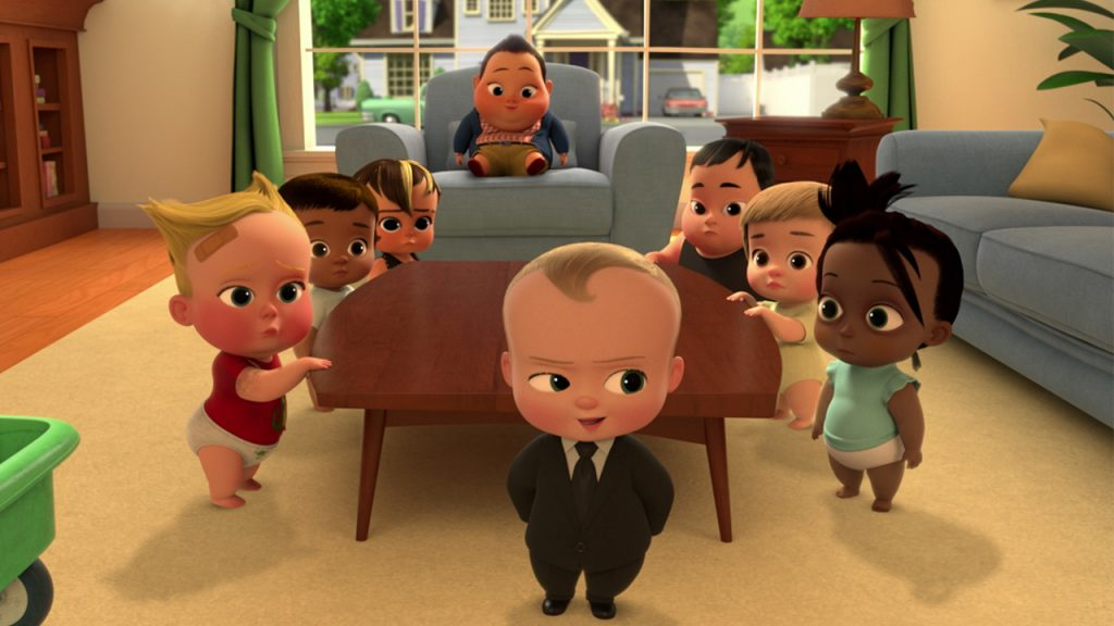 animated babies holding a corporate meeting in a living room