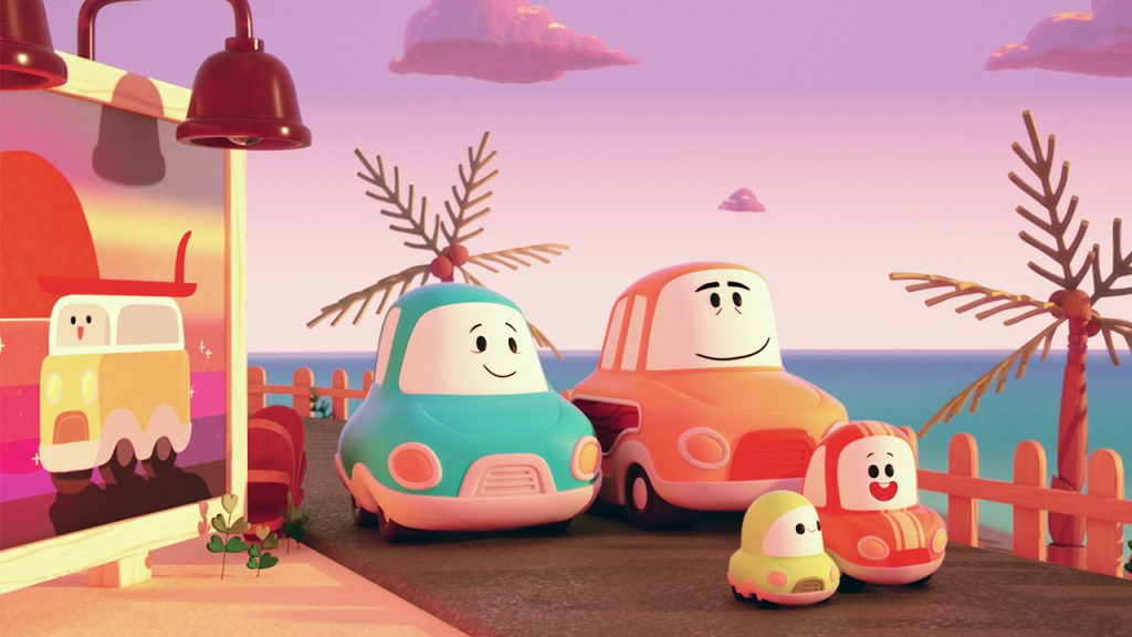 a family of animated cars look at the view on a coastal cliff