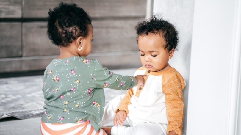 Coronavirus playdates: Two toddlers play together