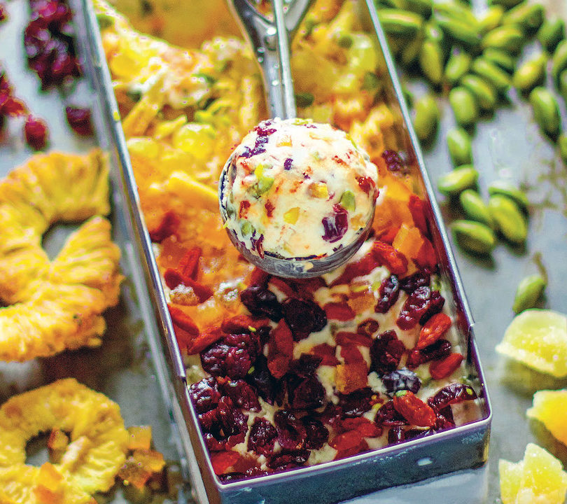 Dried fruit ice cream