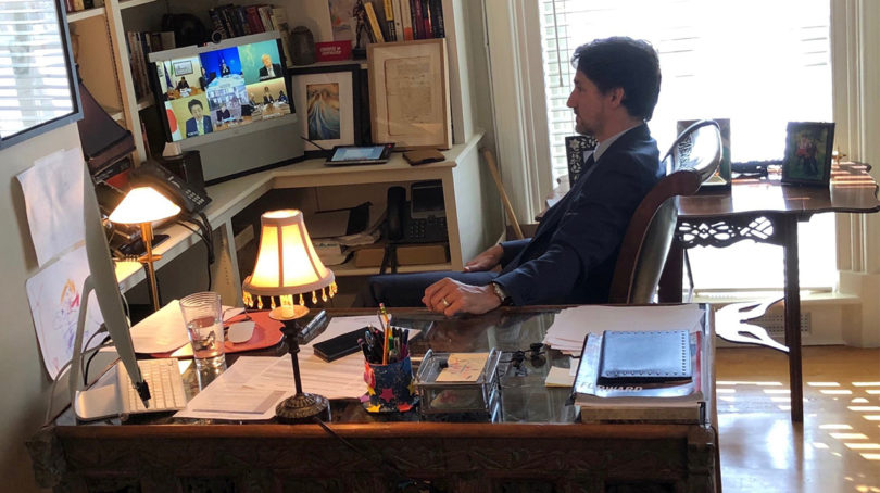 Justin Trudeau working from a home office