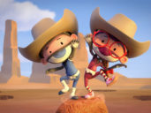 Two animated kids in ninja outfits balance on a rock while wearing cowboy hats
