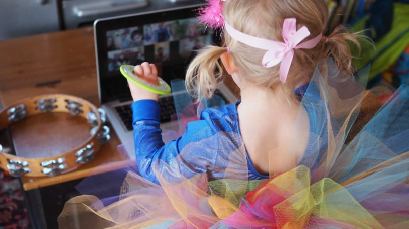 little girl celebrating with our birthday party self-isolation ideas